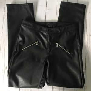 Divided Black Faux Leather Pants with Zippers Sz 4